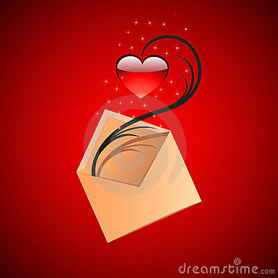 Red heart and envelope