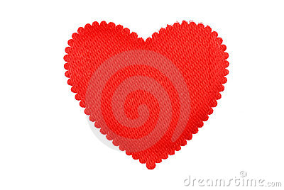 Red heart from a fabric