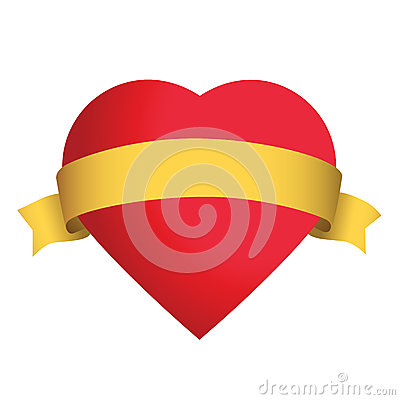 Red heart with gold satin ribbon