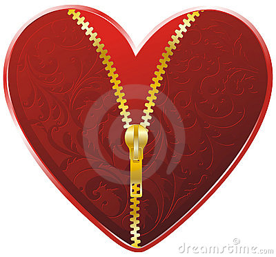 Red heart with golden zipper
