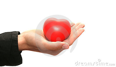 Red heart on the hand