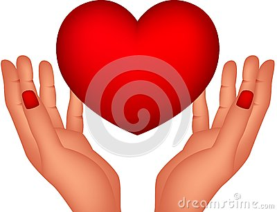 Red heart and hands