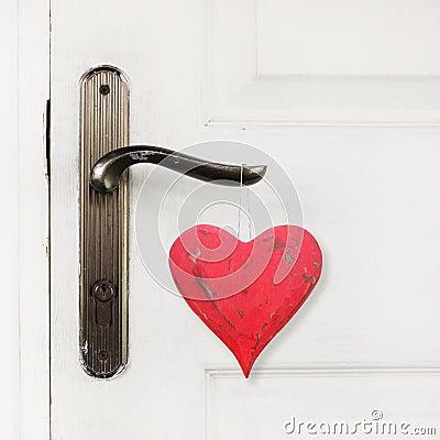 Free Red Heart Hanging On The Door Handle Stock Image - 36365061