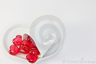 Red heart and heart-shaped coffee cup