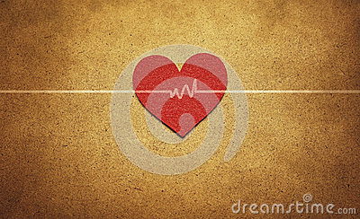Red heart and heartbeat