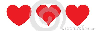 Red heart icon, love icon Cartoon Illustration