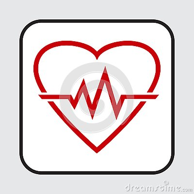 Red heart icon with sign heartbeat. Vector illustration Cartoon Illustration