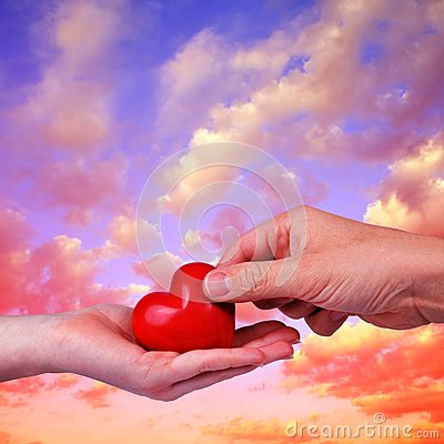 Free Red Heart In Woman And Man Hands. Stock Photo - 109308050