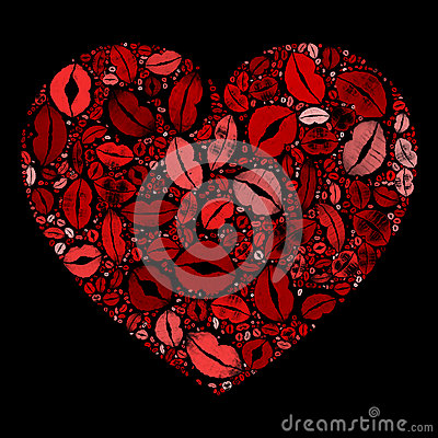 Red Heart Kissing Lips Mosaic On Black Background Stock ...