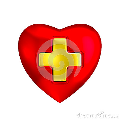 Red heart with medical gold cross