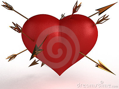 Red heart with multiple gold arrows №1