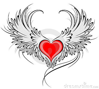 Free Red Heart Of An Angel Royalty Free Stock Image - 15654976