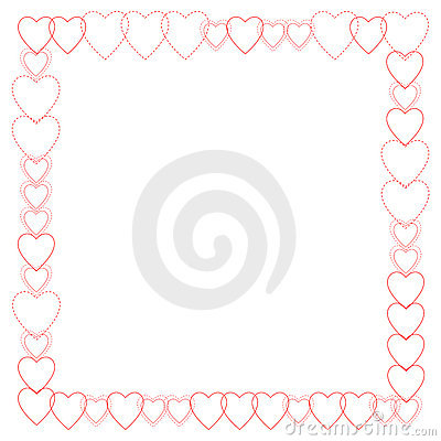 Red Heart Outlines Border