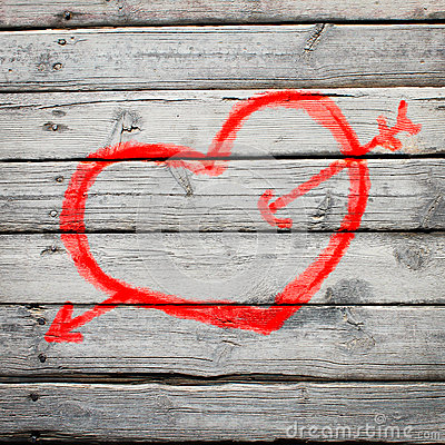 Free Red Heart Painted On A Wooden Surface Royalty Free Stock Photo - 36731235
