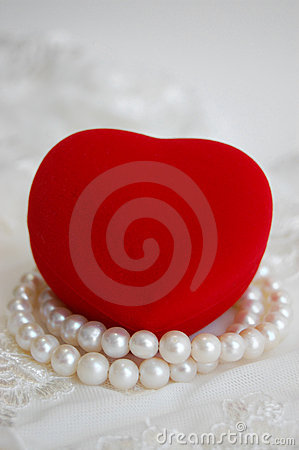 Red Heart and Pearl Necklace