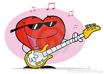 Red Heart Playing A Guitar And Singing