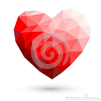 Free Red Heart Polygonal Abstract On White Backgrounds Vector Illustr Royalty Free Stock Image - 44500826