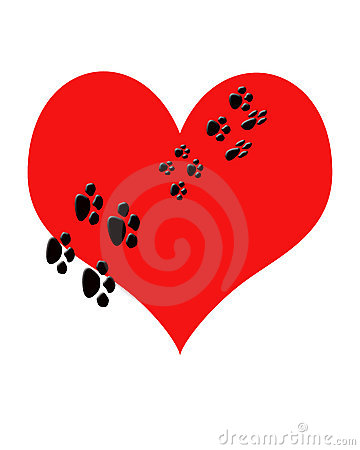Red  heart with puppy Paw prints walking thru it.Metaphor Pupp