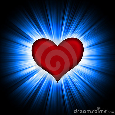 Red heart with rays on a black