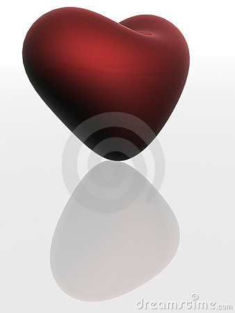 Red heart with reflection.