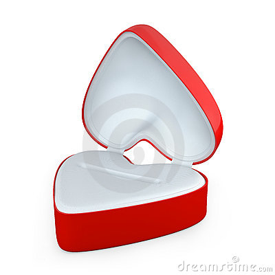 Red heart shaped box for jewelry