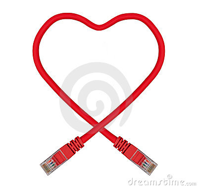 Red Heart Shaped Ethernet Network Cable