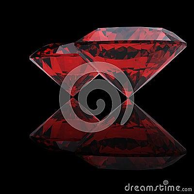 Red heart shaped garnet