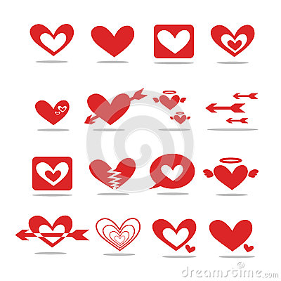 A red heart-shaped icon 2D