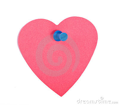 Red heart shaped note paper with blue pin