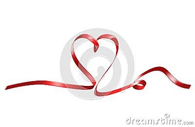 Red heart shaped ribbon