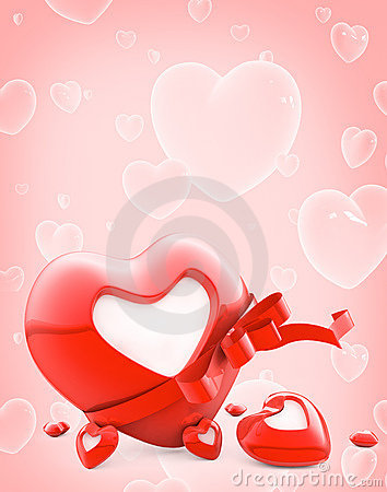 Red heart with stripe and blank white label