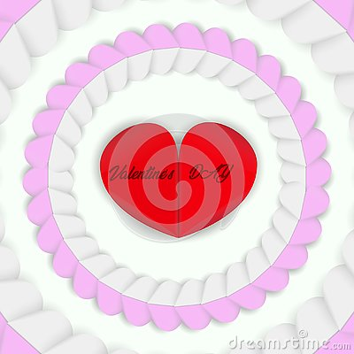 The red heart is surrounded by pink and white hearts. Stock Photo