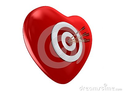 Red heart and target