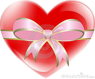 Red heart tied with pink ribbon