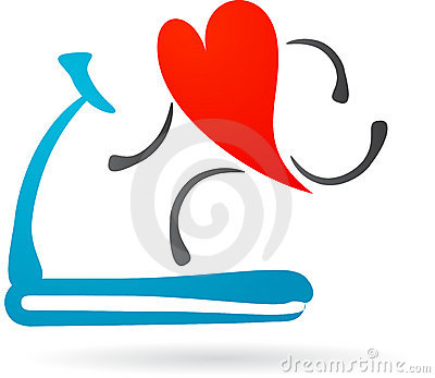 Red heart on a treadmill
