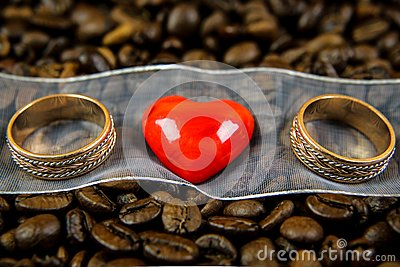 Red heart with two rings