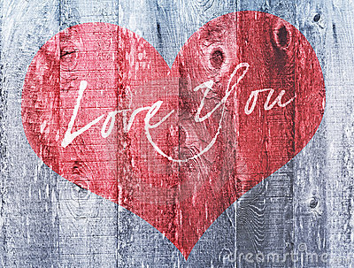 Red Heart Valentines Day Holiday Love You Heart Greeting Distressed Wood Stock Photo