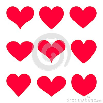 Free Red Heart Vector Icon Background Set For Valentine`s Day, Medical Illustration, Love Story Symbol. Health Medical Flat Logo. Roma Stock Photo - 108040820