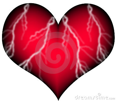 Red heart with vessels