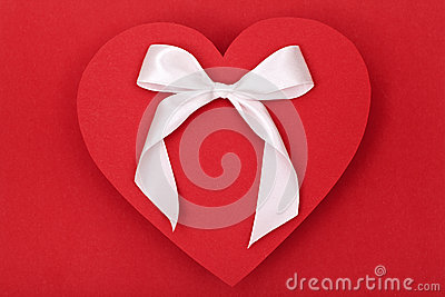 Red heart and white bow