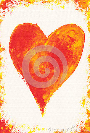 Red heart on white with frame