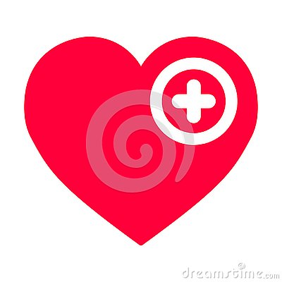 Free Red Heart With A Cross On A White Background Stock Photo - 138366700