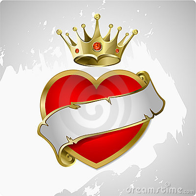 Free Red Heart With A Gold Crown. Royalty Free Stock Photo - 18119925
