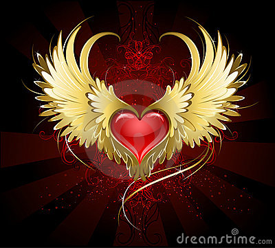 Free Red Heart With Golden Wings Stock Images - 19256074