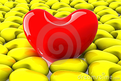 Red heart among the yellow.