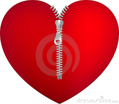 Red heart with zipper