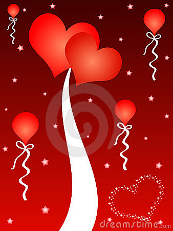 Red hearts and balloons