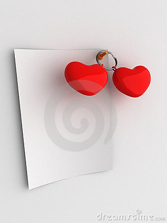 Red hearts blank note