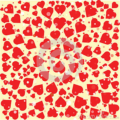 Red hearts diferent size round background template. Halftone circle illustration. Cartoon Illustration