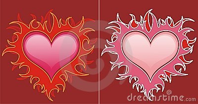 Red hearts in flames